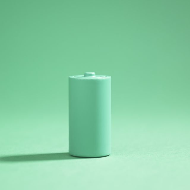 green battery on green background