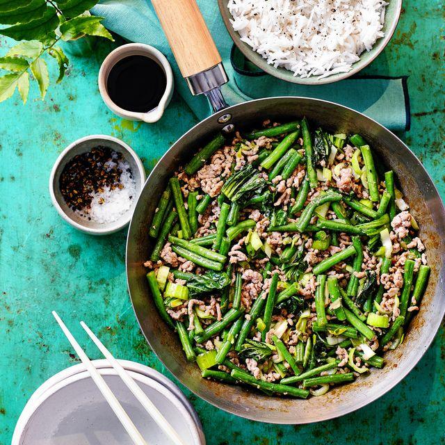 green bean and pork szechuan stirfry