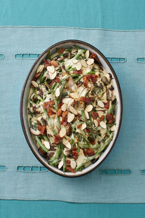 green bean mushroom casserole with candied bacon