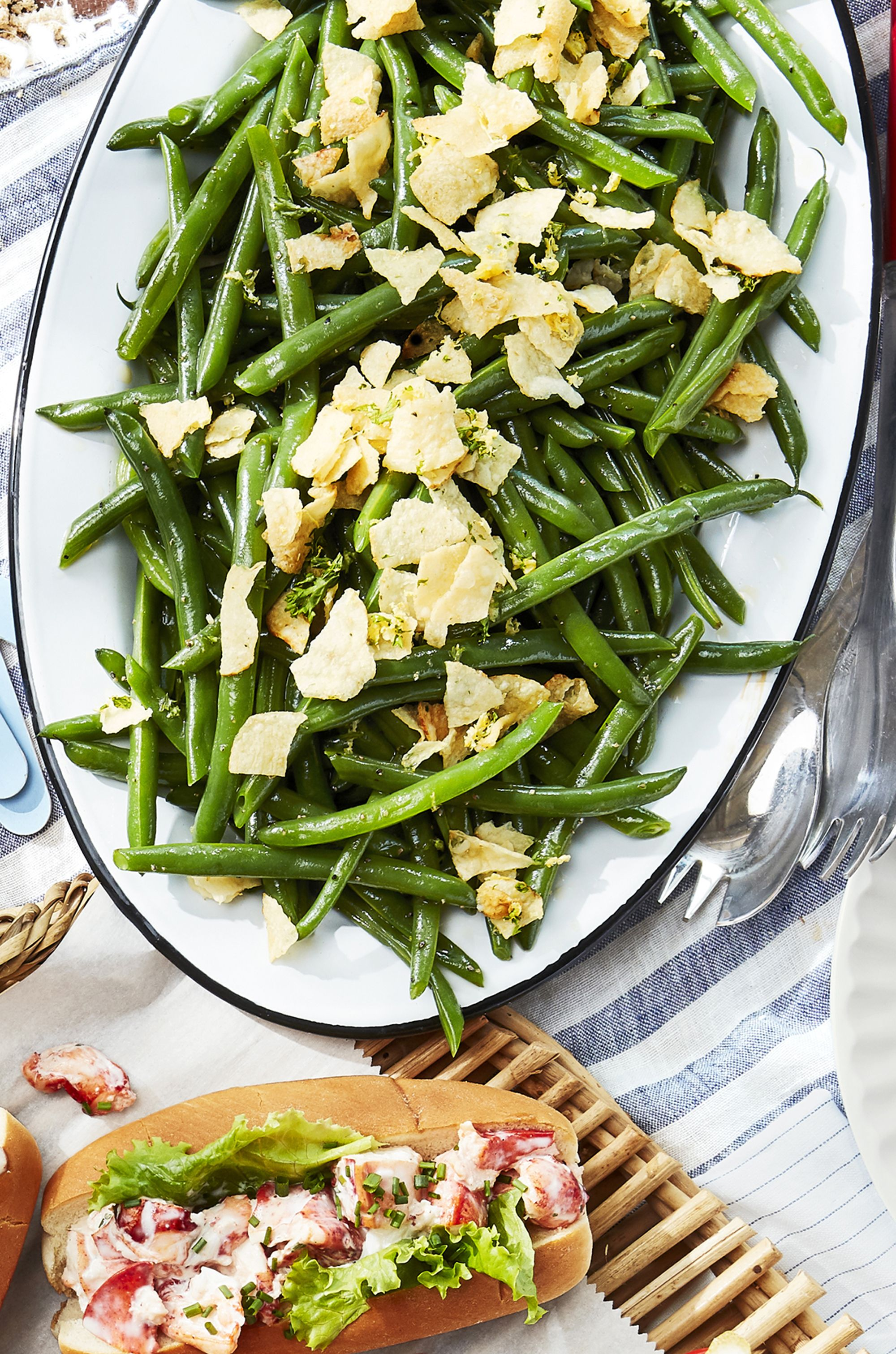 Green Beans and Crushed Salt-and-Vinegar Chips