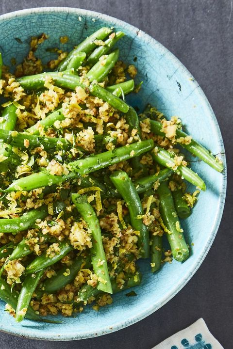 green beans with olive almond tapenade