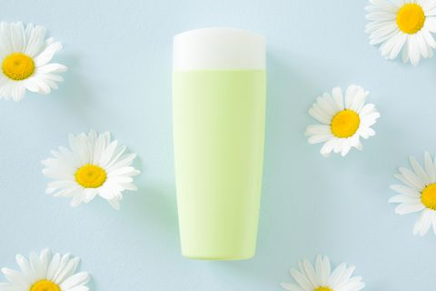 Green bottle of natural herbal cream on pastel blue background. Beautiful white chamomiles or daisies. Fresh flowers. Care about clean and soft face, hands, legs and body skin. Beauty concept.