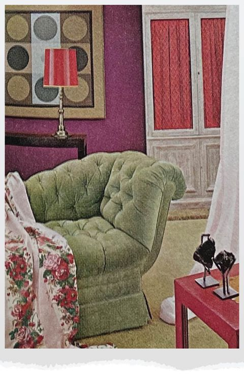 living room with green chair