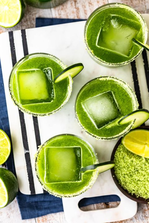 green cocktails spicy cucumber margarita