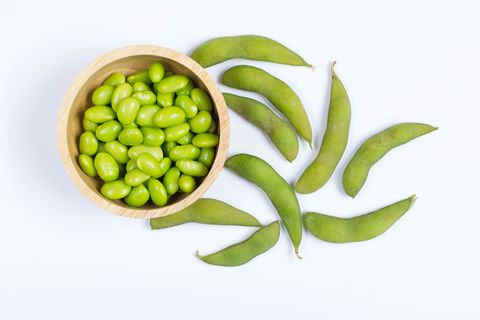 green japanese soybeans on white background