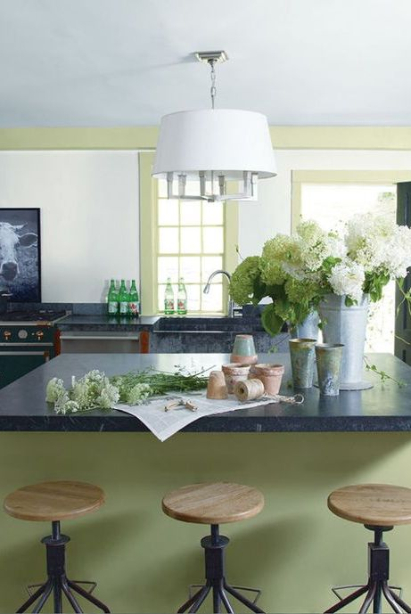 Furniture, Room, White, Countertop, Interior design, Green, Property, Kitchen, Table, Ceiling,