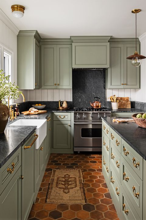 green kitchen cabinets terra cotta