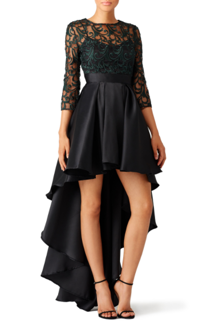 green lace dress rent the runway