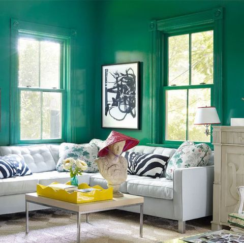 color 13 verdantly green living rooms
