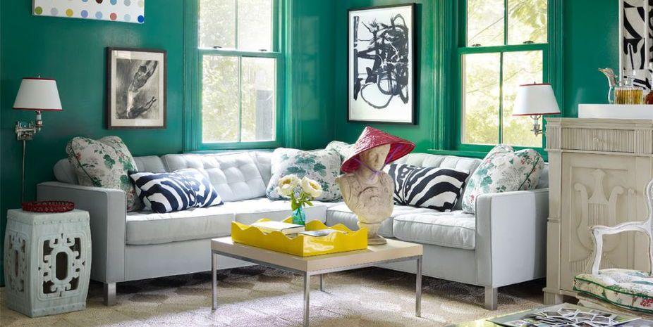 13 Verdantly Green Living Rooms