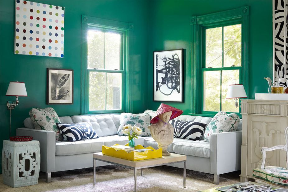 13 Verdantly Green Living Rooms
