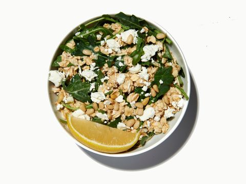 Healthy greens oatmeal with cheese
