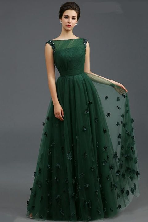 Clothing, Dress, Gown, Green, Fashion model, Bridal party dress, Shoulder, Formal wear, A-line, Day dress,