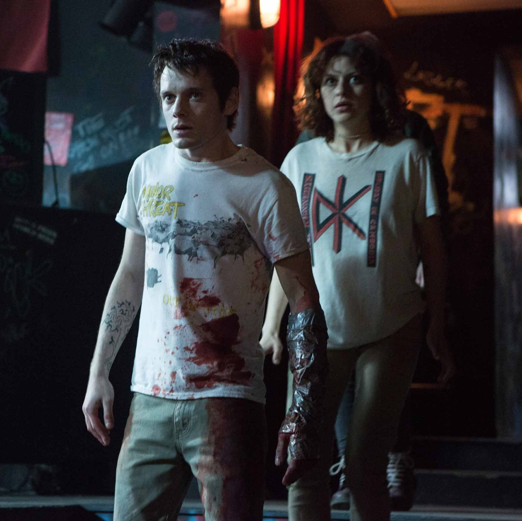 Green Room A punk band accepts a gig at a backwoods Maryland bar, only to discover the clientele is heavy on the neo-Nazis. When they witness a murder, they hold up in the back room to fight off the viscous and violent group that needs to cover up their crime.