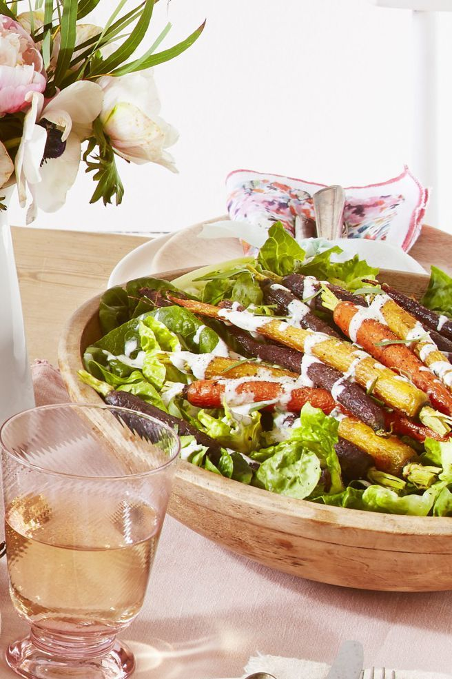 Green Salad With Roasted Carrots and Creamy Tarragon Dressing
