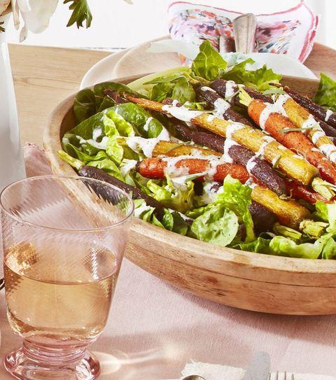 green salad roasted carrots