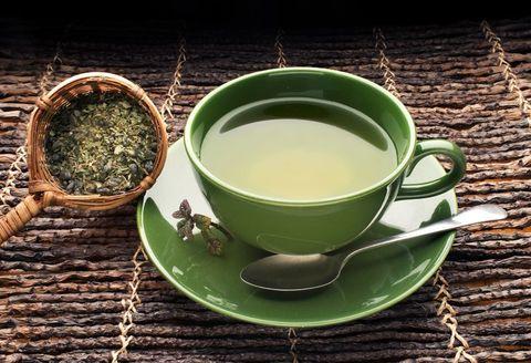 green tea on bamboo