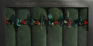 Green Velvet luxury Christmas crackers set of six