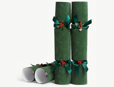 green velvet luxury christmas crackers set of six