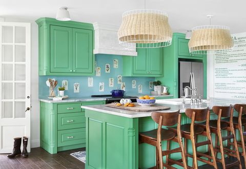 green and blue kitchen