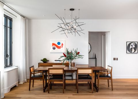 Room, Dining room, Furniture, Interior design, Table, Floor, Ceiling, Wood flooring, Wall, Building,
