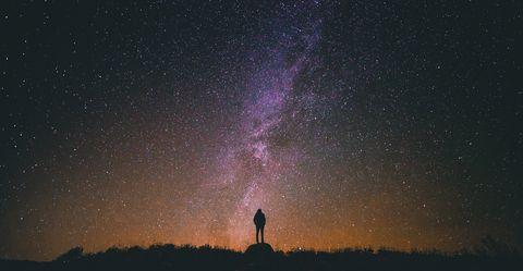 Sky, Galaxy, Night, Atmosphere, Atmospheric phenomenon, Astronomical object, Astronomy, Purple, Space, Star,