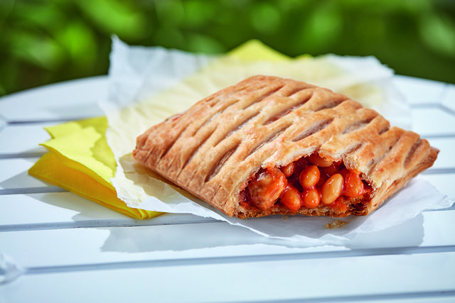greggs' vegan sausage, bean and cheeze melt is finally on the menu