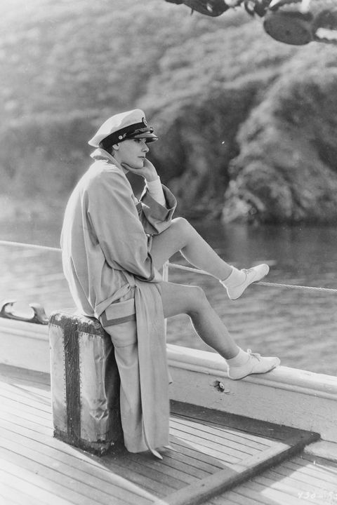 greta garbo relaxing on boat