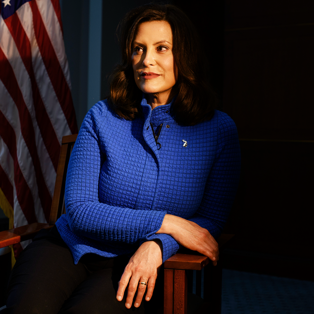 lansing, michigan   may 18, 2020 michigan governor gretchen whitmer at the romney building where her office is located in lansing, mich, on may 18, 2020 brittany greeson for the washington post via getty images