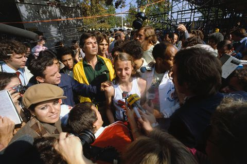 Reporters Interviewing Grete Waitz
