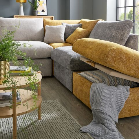 sofology cubos sofa in plain multi grey gold mix, £3,999