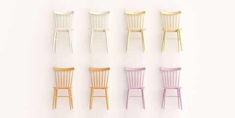 grid of colorful chairs