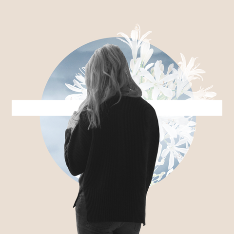 white lilies and anonymous woman grieving