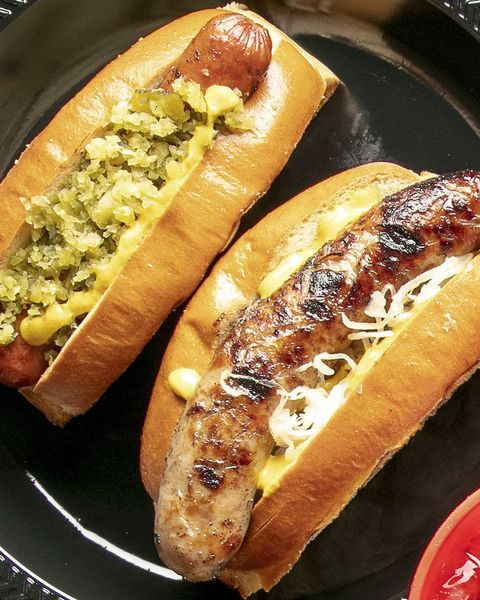 hot dogs with toppings