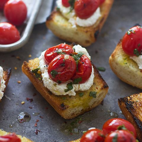 Grilled Baguette with Homemade Ricotta, Burst Cherry Tomatoes, and Chimichurri
