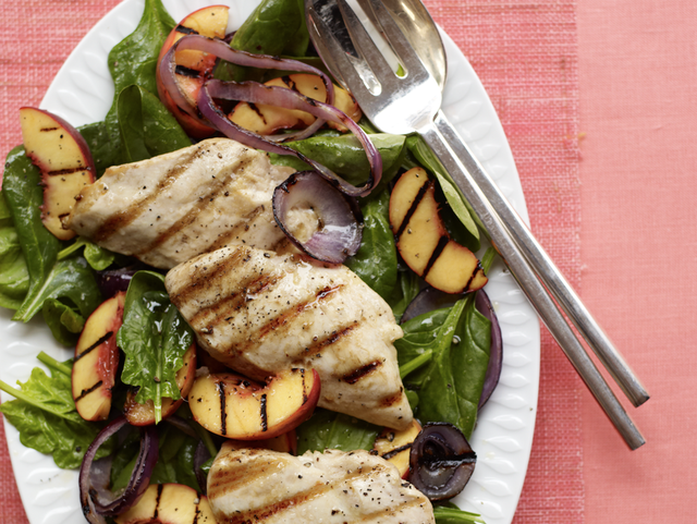 grilled chicken and peaches salad