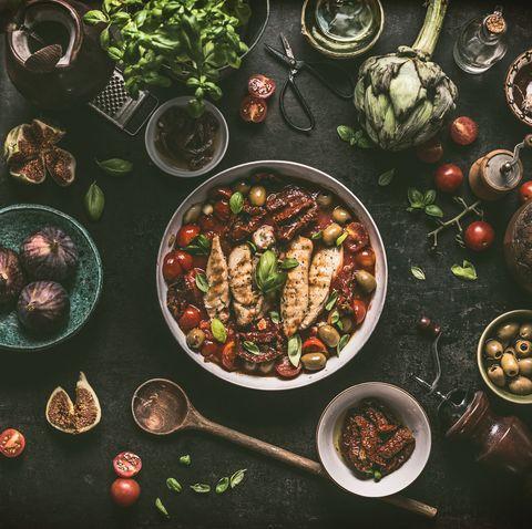 grilled chicken breast with mediterranean ingredients sauce