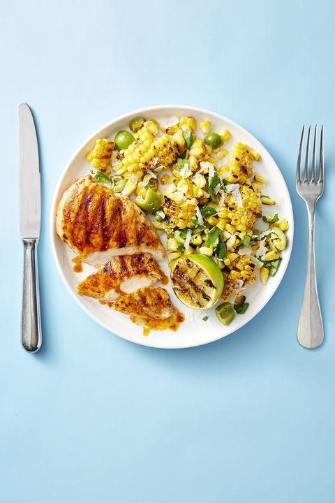 grilled chicken with smoky corn salad
