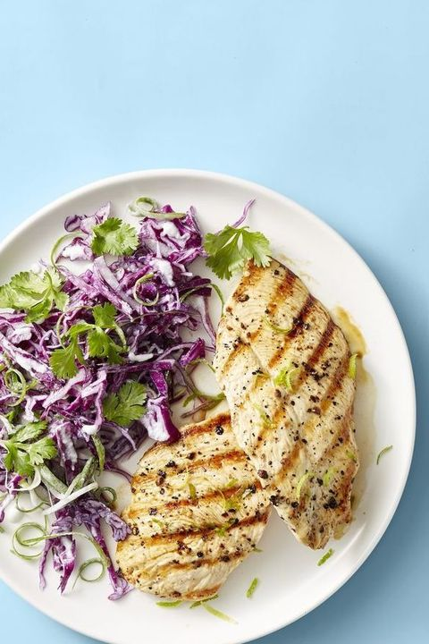 grilled chicken with coconut lime slaw