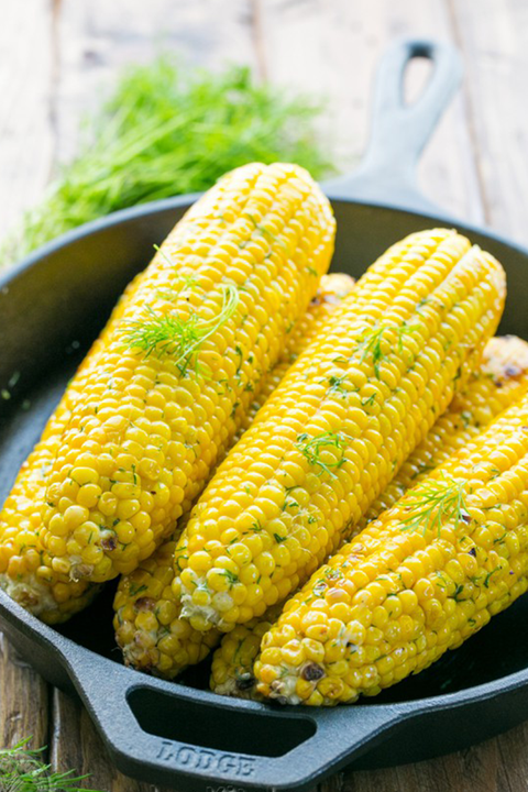 grilled corn of the cob with lemon dill butter