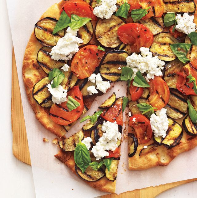 grilled eggplant parmesan pizza