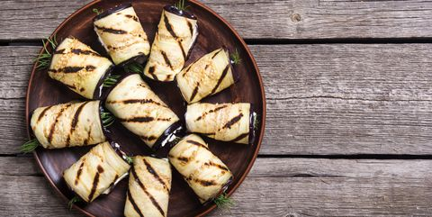 Grilled eggplant (aubergine) rolls with cream cheese