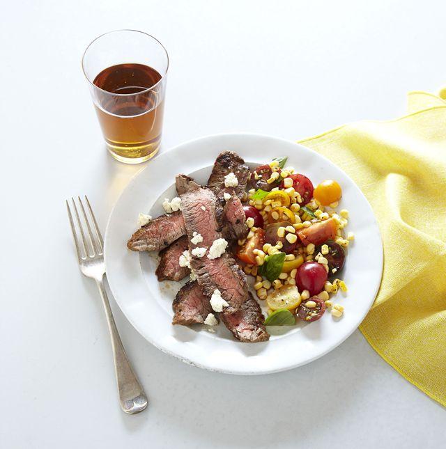 grilled flank steak with garden salad