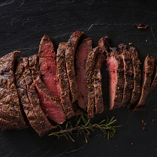 grilled flat iron steak shot in flat lay style