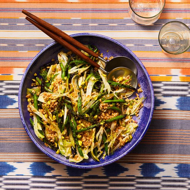 grilled green beans, fennel, and farro