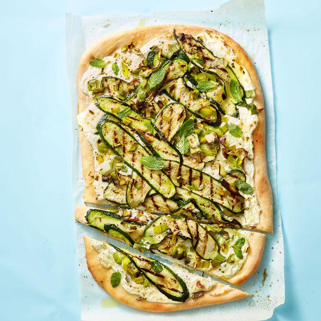 grilled leek, zucchini and ricotta pizza