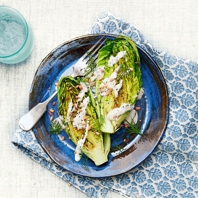 grilled romaine lettuce with creamy feta dressing