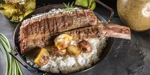 Grilled Short Rib with Pan Fried Potatoes and Rice