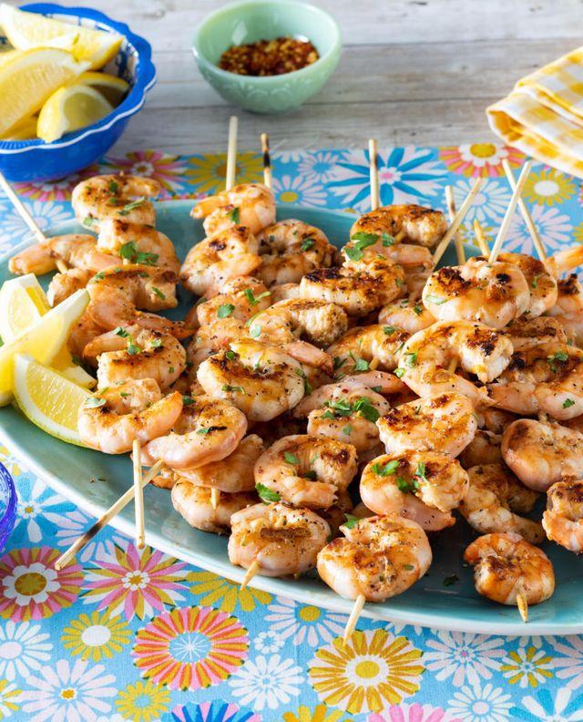grilled shrimp skewers ron blue platter with lemon wedges