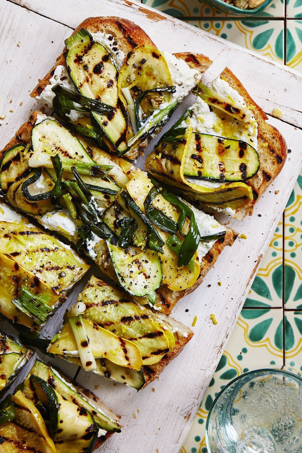 Vegetarian Meals Grilled Squash Garlic Bread